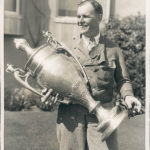 Dudley Steele with Arch Hoxsey Trophy